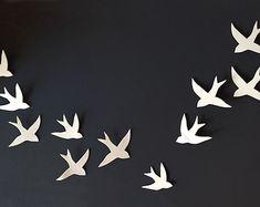 Flock - 11 Porcelain ceramic wall art swallows Bird wall sculpture Modern minimalist wall hanging wall sculpture Set of 11 READY TO SHIP