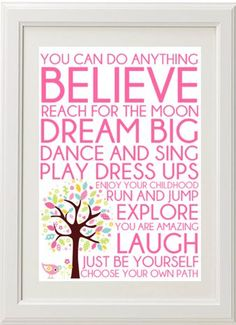 Words for girls print $24.95. Inspirational A4 unframed print is perfect for any little girl's room. www.marliandmo.com.au