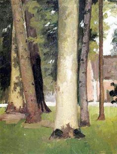 Gustave Caillebotte is the artist's name. The painting is of tree's with a church or house in the background. Landscape artist.