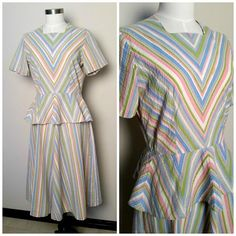 Vintage 1940s Pastel Striped Day Dress with Peplum 42