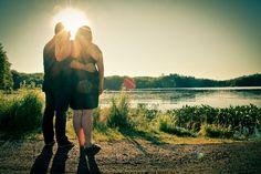#engagement #photography #portraits #lake #sunburst