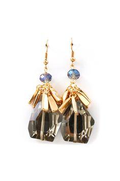 Kimmie Earrings in Black Diamond Crystal.