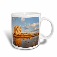 3dRose Resort hotels, beach, South Padre Island, Texas - US44 LDI0335 - Larry Ditto, Ceramic Mug, 15-ounce