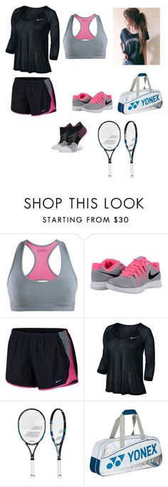 """""""It's tennis time"""" by lizakeller ❤ liked on Polyvore featuring CCM, NIKE, Babolat and Stance #tennisoutfit"""