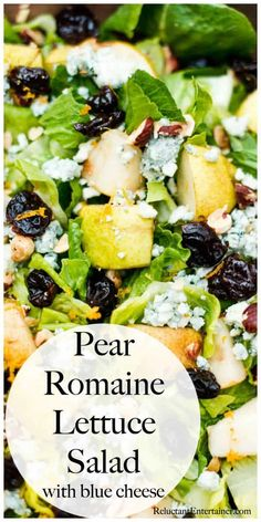 Pear Romaine Lettuce Salad with Blue Cheese Best Picture For pear Salad Recipe For Your Taste You … Lettuce Salad Recipes, Salad Recipes For Dinner, Romain Lettuce Recipes, Pear And Blue Cheese Salad, Blue Cheese Recipes, Romaine Salad, Pear Salad, Vegan Recipes Easy, Pear Recipes