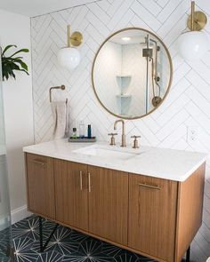 Small bathroom renovations 652318327255871712 - Tiny Master Bathroom Renovation Round Mirror Vanity Source by designsdaydream Bad Inspiration, Bathroom Inspiration, Cool Bathroom Ideas, Bathroom Inspo, Bathroom Flooring, Bathroom Furniture, Tiled Walls In Bathroom, Bathroom Layout, Bathroom Colors
