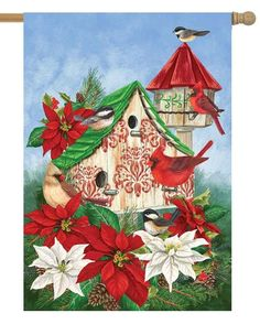 This bright red and green Christmas cardinal themed house flag features lots of rich color that will go well with your indoor or outdoor Christmastime décor. Printed in the USA, Custom Decor double si