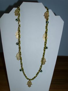 Silk Necklace / Bracelet with Gold Metal Charms by IrisMDesigns, $18.00