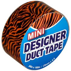 MINI Tiger Stripes JFL Duct Tape 0.94 x 15 ft Roll   JFL MINI Tiger Stripes Duct Tape is .94-Inch by 15-feet multi-purpose duct tapes for crafting, decorating, and color coding that come in a variety of fun and bold colors and patterns. These tapes have durable, waterproof backings and tear easily, apply smoothly and hold well-even on curved surfaces. Great for crafting, decorating, organizing and color coding.