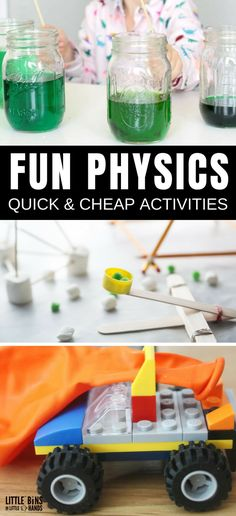 Simple physics activities for kids features quick physics experiments and STEM activities. Easy to set up ideas use cheap materials for hands on learning. Earth Science Projects, Physics Projects, Easy Science Experiments, Science Activities For Kids, Kindergarten Science, Stem Activities, Science Fun, Science Ideas, Physical Activities