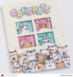 Today I want to share my card for Mama Elephant featuring The Cat's Meow stamp set. Cat Cards, Kids Cards, Mama Elephant Stamps, Elephant Birthday, Animal Cards, Baby Kind, Card Making Inspiration, Creative Cards, Homemade Cards