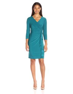 0d8fd0bc145 Kasper Women s Three-Quarter Sleeve Fitted Cascade Ruffle Solid ITY Dress  at Amazon Women s Clothing store