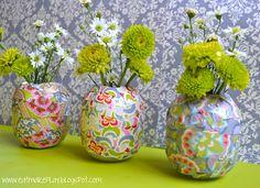 paper covered vases diy
