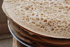 Injera recipe for mopping up the spicy red lentils that I dream of making. We're making Ethiopian food this weekend.
