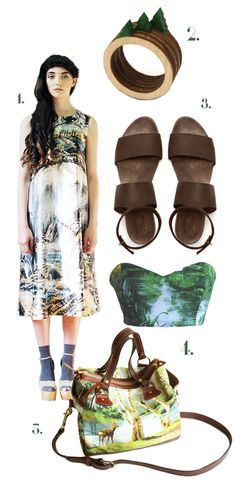 [1. Lost Landscape dress by ApartofmeAPOM; 2. Tree rings by CliveRoddy; 3. Sandals by WalkByAnatDahari; 4. Landscape print bandeau top by ShowboatClothing; 5. The Kimberly Bag by iheartnorwegianwood.]