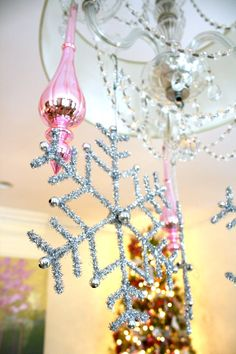 Decorate your chandelier with festive and sparkling ornaments | Home Tour