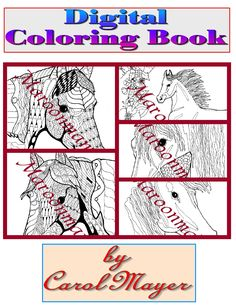 Horses Just Adult Coloring Book Digital Download 5 Pages By Maroonmanx On Etsy