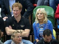 Big fan: Prince Harry hosted Dr Jill Biden at the 2014 Invictus Games in London, which were held at the Olympic Stadium which hosted the 2012 Olympics