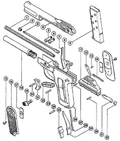 Glock pistol parts diagram color coded, showing frame pins