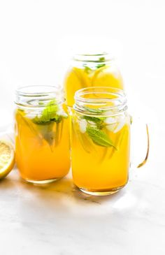 This Turmeric Ginger Lemonade with fresh Mint is great for fighting fatigue and reducing inflammation in the body. It's quick to make, naturally sweetened, and super refreshing! A homemade lemonade wi