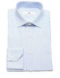 Pierre Balmain Men Slim Fit Cotton Dress Shirt Stripe White Blue, Size: 43, Multi