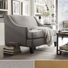 Winslow loveseat features sloping arms, T-shaped seat cushion and tapered, cherry or espresso-stained feet are the hallmarks of this Collection. We reinvented it with deep seats and thick cushions and this collection will sure enhance any room decor.