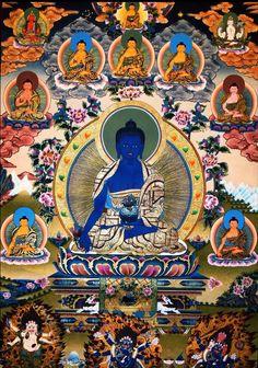 Medicine Buddha Painting @ TraditionalArtofNepal.com #Thangka Buddha Artwork, Buddha Painting, Buddhist Symbols, Buddhist Art, Buddhist Wheel Of Life, Chakras, Japan Watercolor, Thangka Painting, Tibetan Buddhism