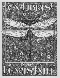 Ex Libris dragonfly bookplate for Lewis Jaffe illustration livre Ex Libris, Up Book, Book Art, Art Nouveau, Handwritten Text, Late Middle Ages, Ephemera, Inktober, Printmaking