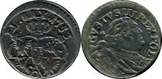 Szeląg Augusta III Mocnego,  Awers: Popiersie Augusta III, wokoło napis: AVGVSTVS III REX POL: [AUGUSTUS III REX POL(oniae) - August III król Polski] - (litera V użyta zamiast U na wzór łaciński). Rewers: Pod koroną tarcze z herbami polskimi, litewskimi i saskimi, u góry napis: EL:SAX:1753 [EL(ector) SAX(oniae) - elektor Saksonii], pod tarczami literka И (odwrócone N). Rok na monecie: 1753