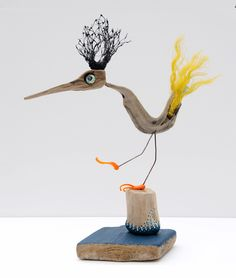 "driftwood / glas / fisher net - sculpture ""birdy"" - by JEVO"