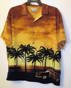 Hawaiian Shirt Men XL button front SS Palm Trees Beach Car Driving Cruising