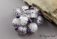 Magma Beads Snow Flowers Minis Handmade Lampwork Beads | eBay
