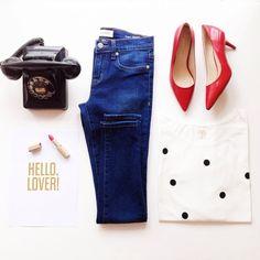 blushshop @blushshop | Loving this adorable polka dot top on our online shop (tanis tshirt) #polkadots #denim #red #outfit