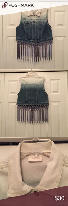 Chicos Women's Denim Vest Women's Denim two tone Jean Vest with Fringe all around bottom with two button pockets. Chico's Other