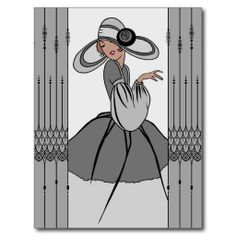 COURTNEY, ART DECO in Shades of Gray Postcards