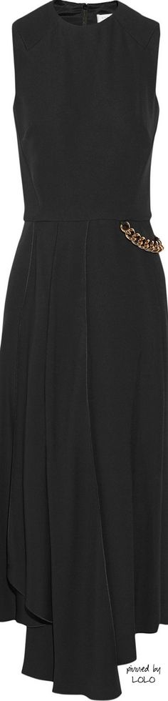 VICTORIA BECKHAM Chain-embellished crepe midi dress | The House of Beccaria#
