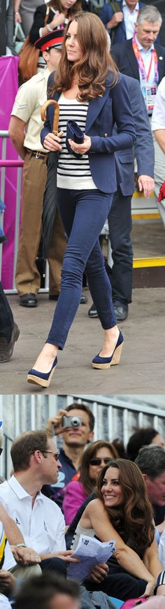 Striped vest, navy Smythe blazer, and wedges. Worn by Kate at the Equestrian events on Day 4 of the London Olympics.