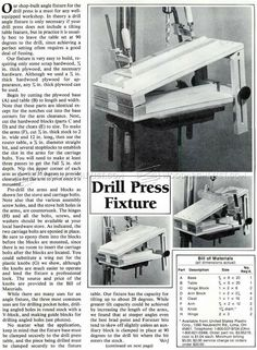 Drill Press Tilt Table Plans - Drill Press