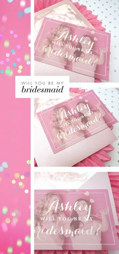 Obsessed with blush? Here is your bridesmaid proposal card. Stunning blush and gold color will make your bridesmaid cry