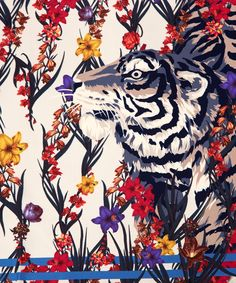 Kenzo Cream Tiger Floral Print Silk Scarf | Silk Scarves by Kenzo | Liberty.co.uk