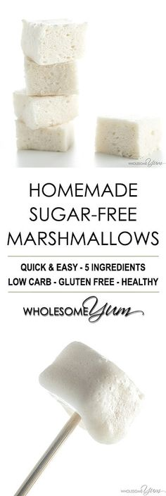 Sugar-Free Marshmallows Recipe Without Corn Syrup - You only need 4 ingredients to make homemade sugar-free marshmallows, no corn syrup needed!