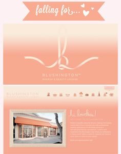 Blushington Makeup & Beauty lounge another company with brand identity design perfection in EVERY little detail; wait till you see the inside of their studio, to die for!