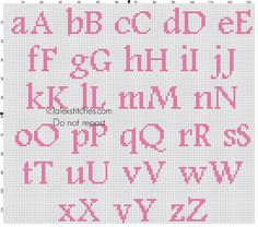 Cross stitch alphabet baby pink Footlight MT Light size 20 color DMC 3806 - free cross stitch patterns by Alex