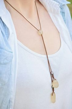 English Sea Glass Bubble Lariat Necklace by BritishBohemian