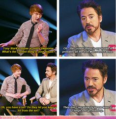 RDJ on his Iron Man memorabilia collection.