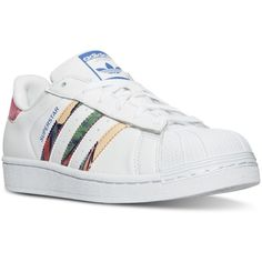 adidas Women's Superstar Farm Casual Sneakers from Finish Line (335 RON) ❤ liked on Polyvore featuring shoes, sneakers, retro sneakers, adidas trainers, adidas sneakers, adidas shoes and leather upper shoes