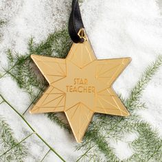 "Personalised Star Teacher Wood Acrylic Christmas Bauble | Create Gift Love £10    Say ""thank you"" to your favourite teacher with our personalised star Christmas bauble. Handmade in the UK in our very own Christmas workshop!    #christmasdec #creategiftlove"