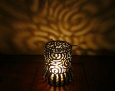Items similar to Handcrafted Tin Can Small Spiral Tabletop Lantern on Etsy Tin Can Lanterns, Spiral, Stencils, Candle Holders, Candles, Canning, Trending Outfits, Stone, Unique Jewelry