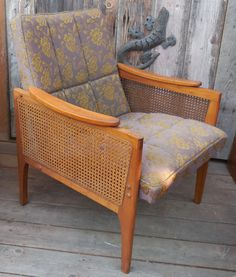 Mid-Century Scoop Arm Cane Side Chair