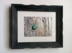 """Calm"" Beach Glass Marble on Sandy Driftwood 5 x 7 Framed Print ~ Signed"
